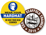 Scaffold Trained Hard Hat Stickers