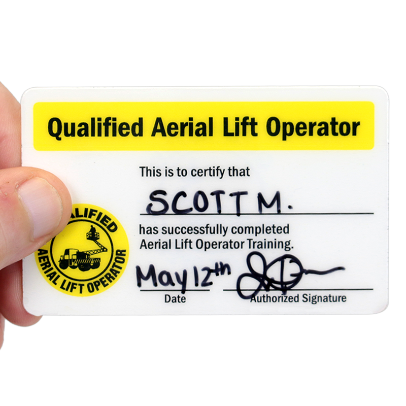 Qualified aerial lift operator hard hat decals with for Scissor lift certification card template