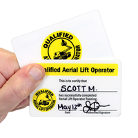 Qualified Aerial Lift Operator Wallet Card, Double-Sided
