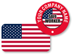Flag Hard Hat Stickers for United States, Canada and Mexico