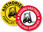 Certified Forklift Operators Hard Hat Stickers