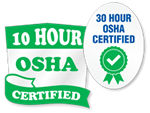 OSHA 10 and 30 Hour Trained Stickers