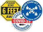 Social Distancing & COVID-19 Safety Hard Hat Stickers