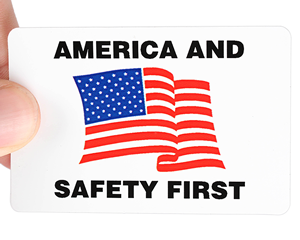 America and Safety First decal for hard hats