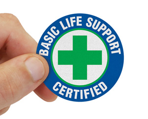 Certified Basic Life Support Hard Hat Decal