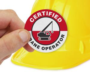 Certified Crane Operator Hard Hat Label