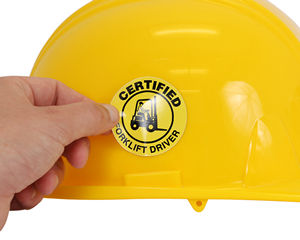 Certified forklift driver hard hat sticker