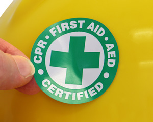 Certified CPR, First Aid, AED Hard Hat Decal