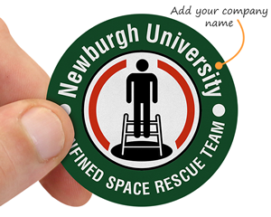 Custom confined space hard hat sticker