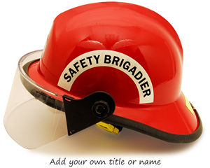 Custom hard hat stickers for safety committee