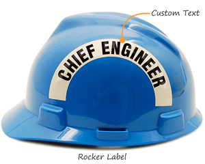 Custom rocker label for hard hat