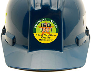 Iso 9001 hard hat sticker
