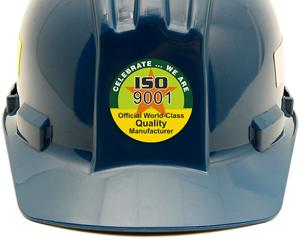 Iso 9001 hard hat sticker