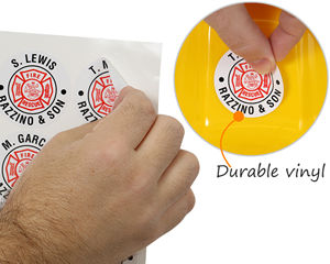 Print your own custom hard hat stickers