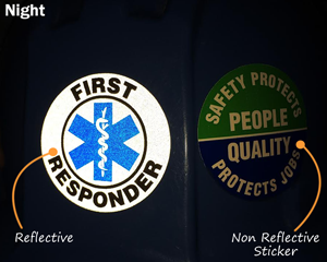 Reflective Safety Hard Hat Labels in Night