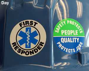 Reflective Safety Hard Hat Labels in Day