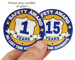 Years of safe work award stickers