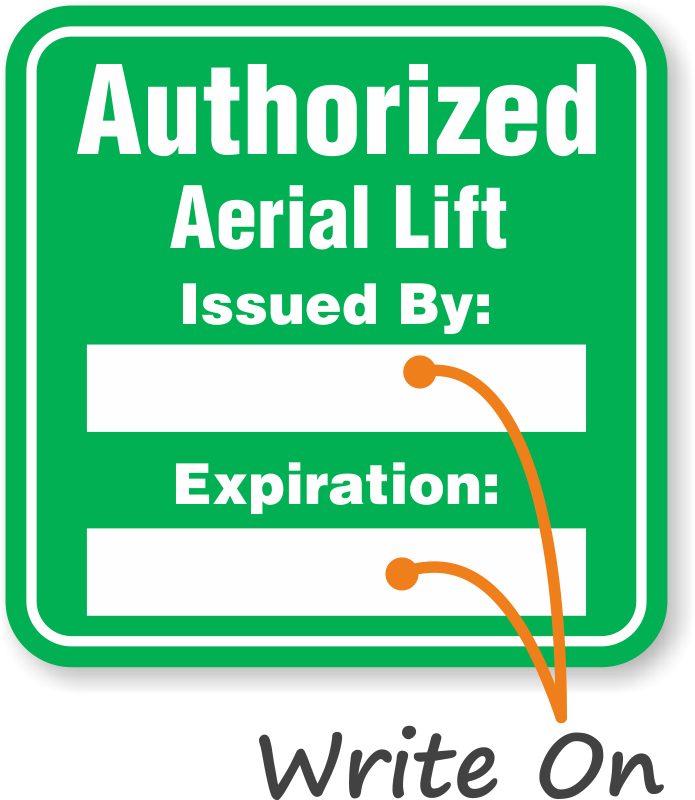 Authorized Forklift Lift Write-On Hard Hat Decals Signs, SKU: HH-0471