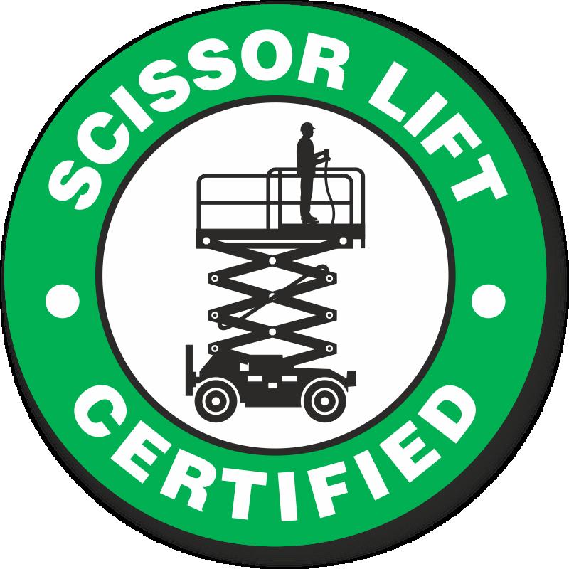 Certified Scissor Lift Hard Hat Decals Signs, SKU: HH-0447