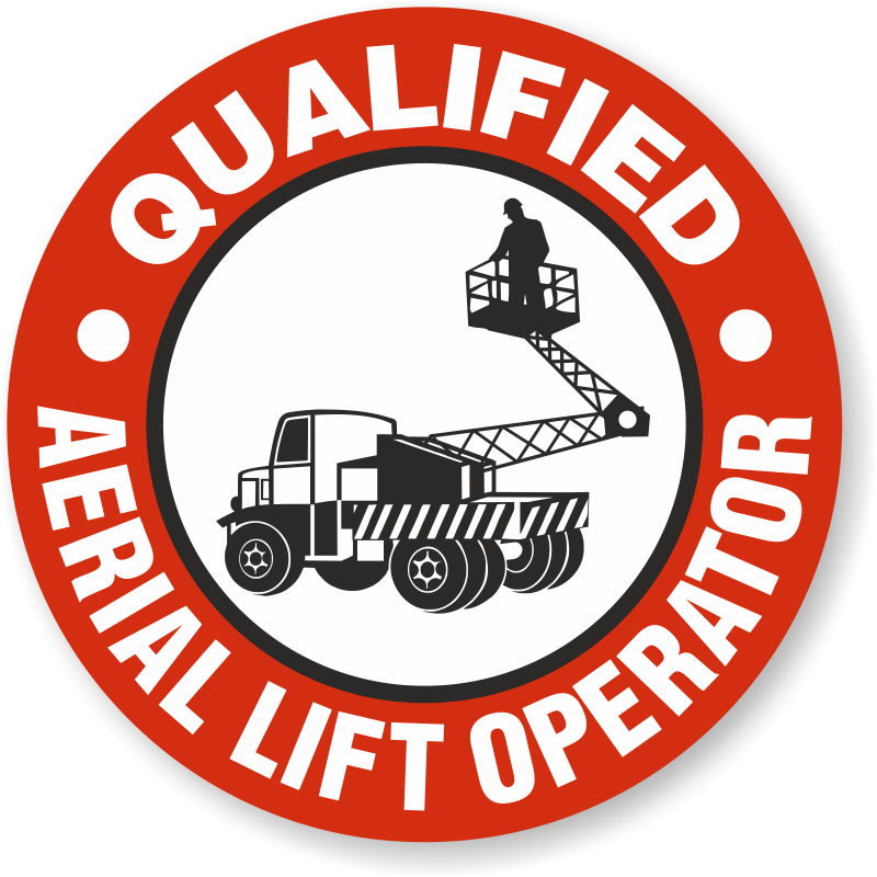 Qualified Aerial Lift Operator Hard Hat Decals Signs, SKU: HH-0450