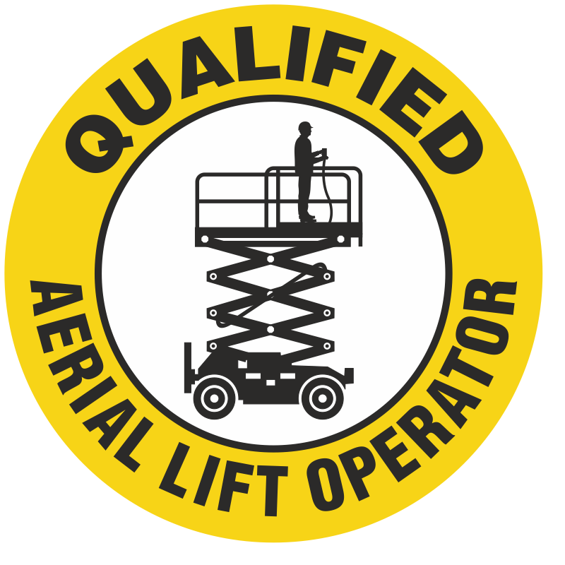 Qualified Aerial Lift Operator Hard Hat Decals Signs, SKU: HH-0452