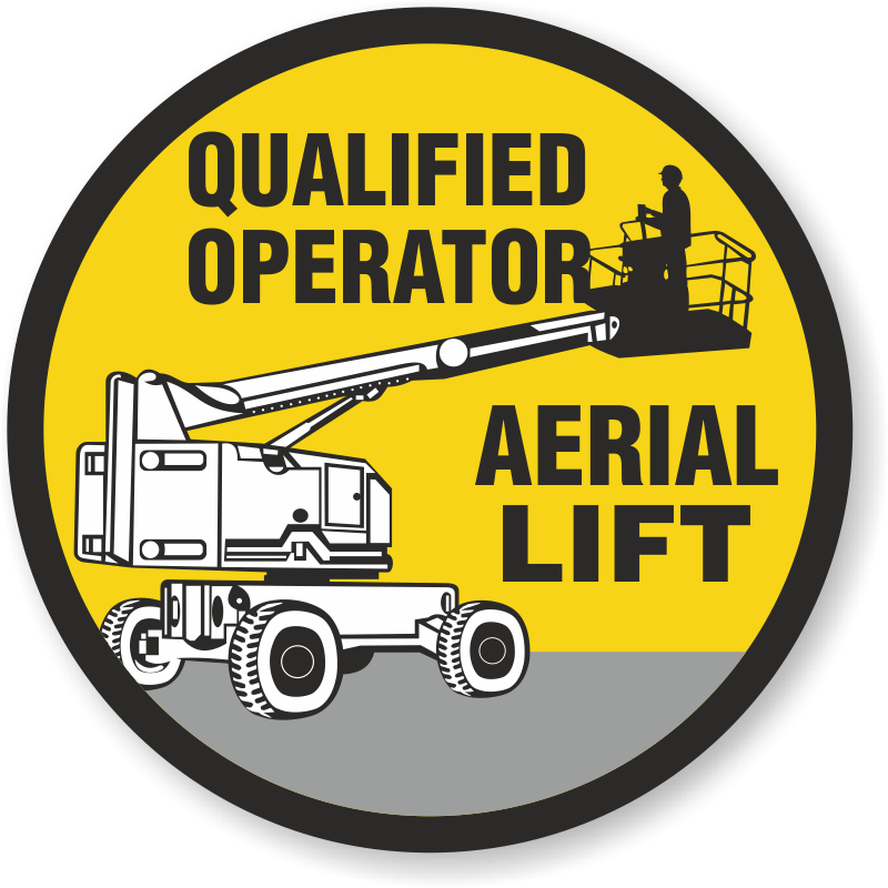Qualified Operator Aerial Lift Hard Hat Decals Signs, SKU: HH-0449
