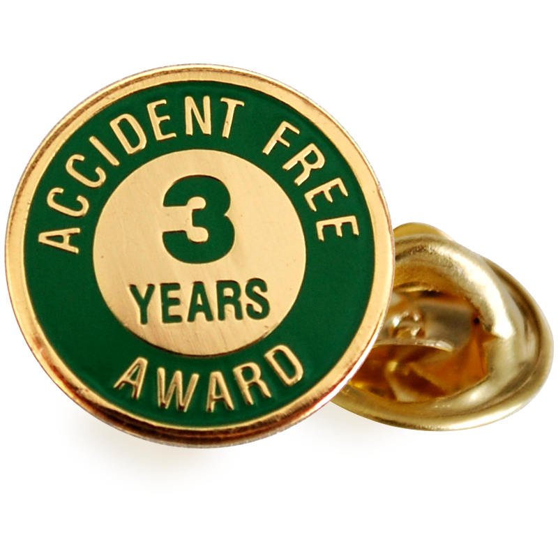 Accident Free 1 Year Crescent Hard Hat Decals , SKU - HH-0343