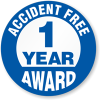 Accident Free Award Choose Year Hard Hat Decals