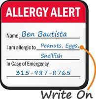 Allergy Alert Write-On Hard Hat Decals