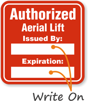 Authorized Aerial Lift Write-On Hard Hat Decals