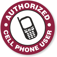 Authorized Cell Phone User Hard Hat Decals