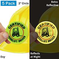 Certified Forklift Driver Hard Hat Label