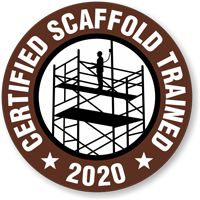 CERTIFIED SCAFFOLD TRAINED (Select Year) Hard HAT DECAL