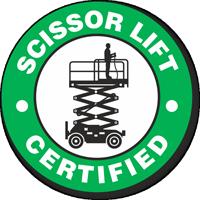 Certified Scissor Lift Hard Hat Decals