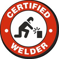 Certified Welder Hard Hat Decals
