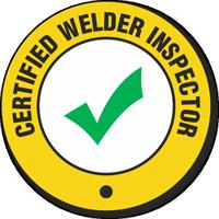 Certified Welder Inspector Hard Hat Decals
