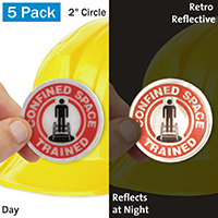 Confined Space Trained Hard Hat Label