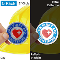 CPR First Aid Certified Hard Hat Label