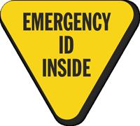 Emergency ID Inside Hard Hat Decals
