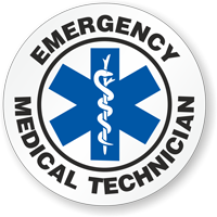 Emergency Medical Technician Hard Hat Stickers
