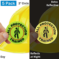 Fall Protection Trained Hard Hat Label