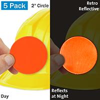 Fluorescent Orange Retro Reflective Hard Hat Label