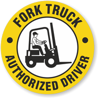 Fork Truck Authorized Driver Hard Hat Decals