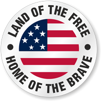 Land Of Free Home Of Brave Hard Hat Decals