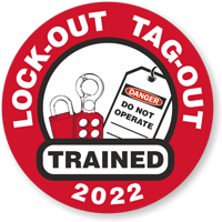 LOCK-OUT TAG-OUT TRAINED (Select Year) Hard HAT DECAL