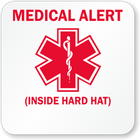 Medical Alert Inside Hard Hat Hard Hat Decals