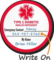 Medical Alert Type 1 Diabetic Hard Hat Decals