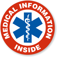 Medical Information Inside Hard Hat Decals