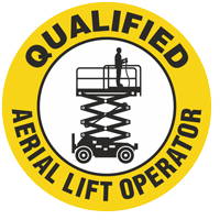 Qualified Aerial Lift Operator Hard Hat Decals