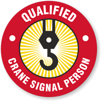 Qualified Crane Signal Person Hard Hat Decals